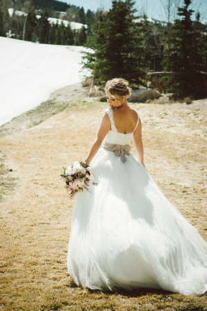 Taupe Sash on Bridal Gown