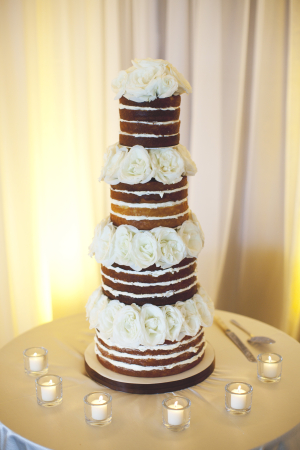 Unfrosted Wedding Cake With Fresh Flowers