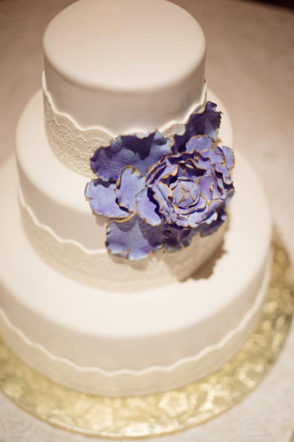 Wedding Cake with Purple Fondant Flower