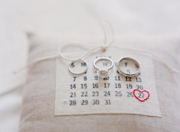 Wedding Date Ring Pillow