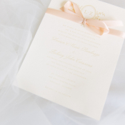 Wedding Invitation with Pink Ribbon