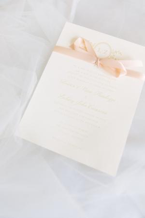 Wedding Invitation with Pink Ribbon