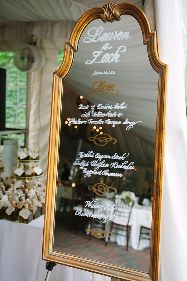 Wedding Menu On Mirror Elizabeth Anne Designs The