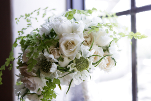 White Bouquet With Baby Fern Accents