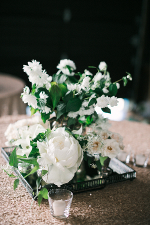 White Floral Centerpiece Silver Tray