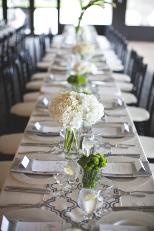 White Green and Navy Reception Table Decor