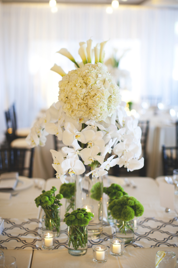 White hydrangea and orchid centerpiece elizabeth anne