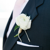 White Rose Boutonniere Wrapped in Twine