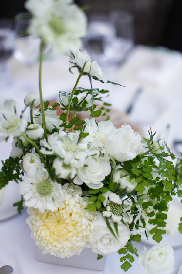 White and Green Flowers Reception Decor