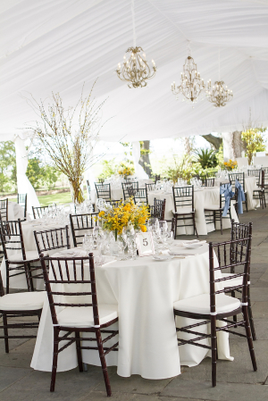 White and Yellow Decor in Reception Tent