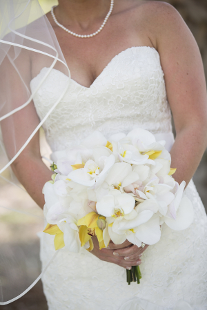 White and Yellow Orchid Bouquet