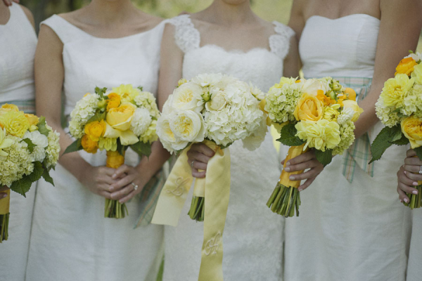 Yellow White And Green Bouquets