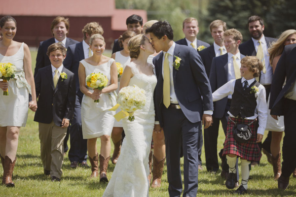 Yellow and Navy Bridal Party