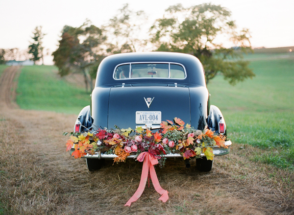 Wedding Black Rolls Royce Fall Leaf Garland Bow