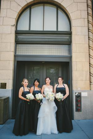 Black Halter Style Bridesmaids Dresses