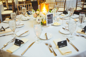 Black White Gold Wedding Centerpiece