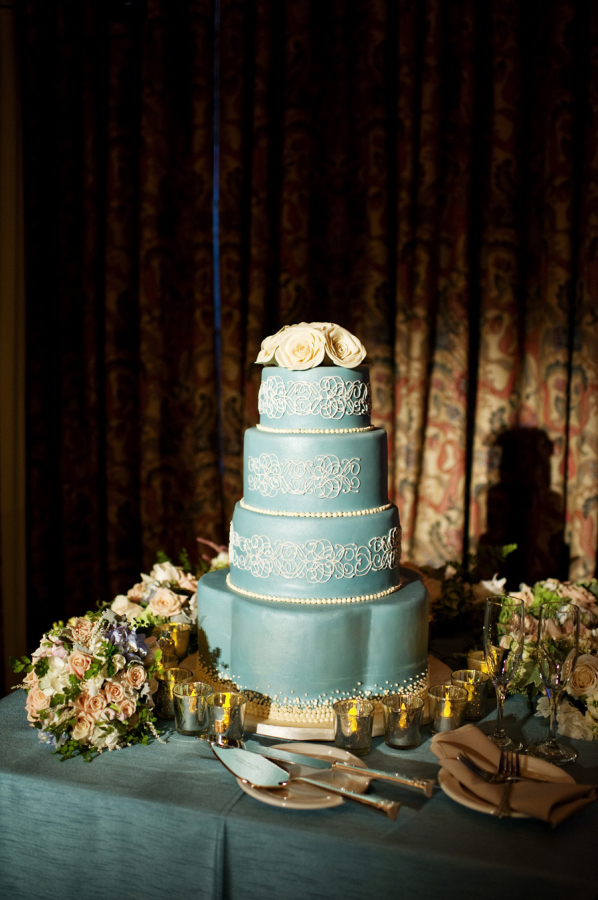 Blue Cake with White Filigree