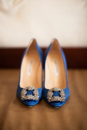 Blue Rhinestone Bridal Shoes