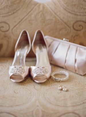 Blush Rhinestone Peep Toe Bridal Shoes