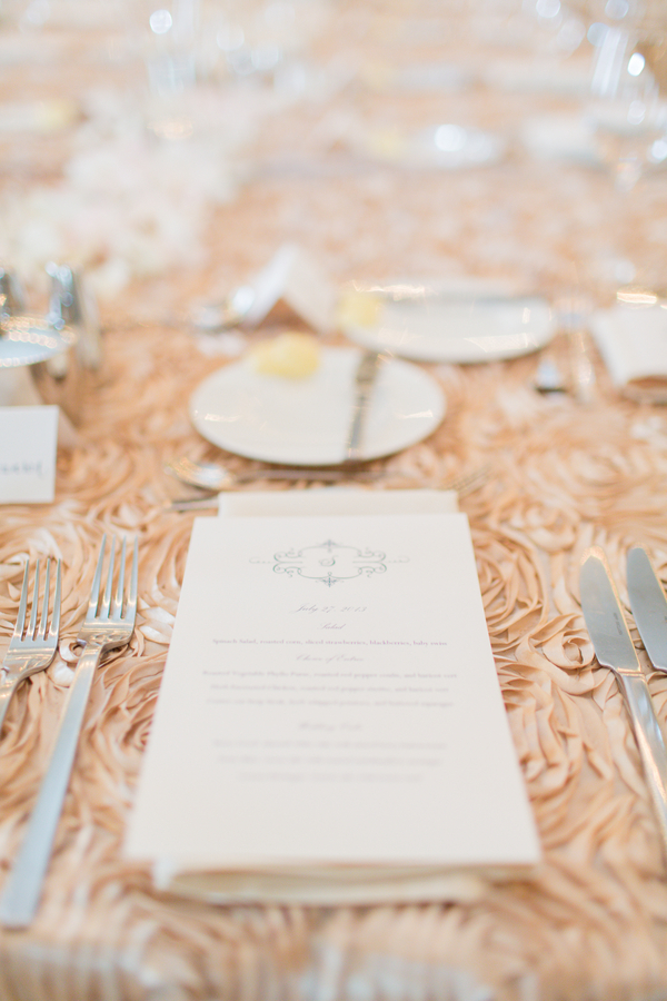 Blush Rosettes on Table Linens