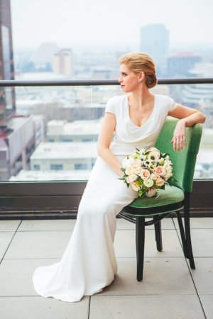 Bridal Portrait in Green Chair