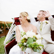Bride and Groom Horse Drawn Carriage