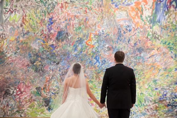 Bride and Groom in Art Museum