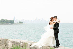 Bride and Groom on Waterfront