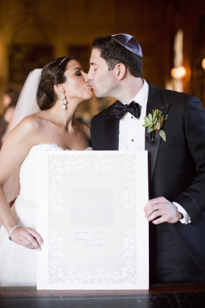 Bride and Groom with Ketubah