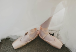 Bride in Pink Ballet Shoes
