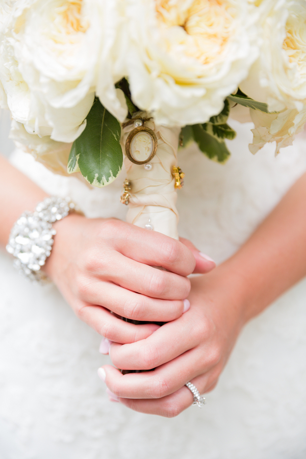 Cameo Pin on Bridal Bouquet