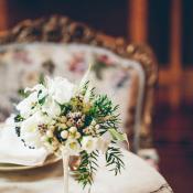 Centerpiece in Delicate Silver Vase