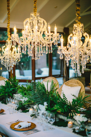 Chandeliers and Ferns Wedding Reception