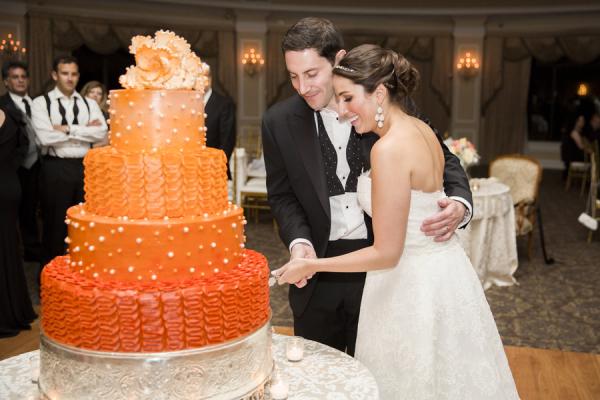 Chocolate Wedding Cake on Silver Stand