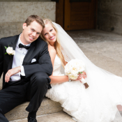 Classic Bride and Groom on Church Steps
