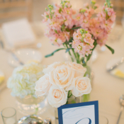 Clustered Floral Arrangements at Reception