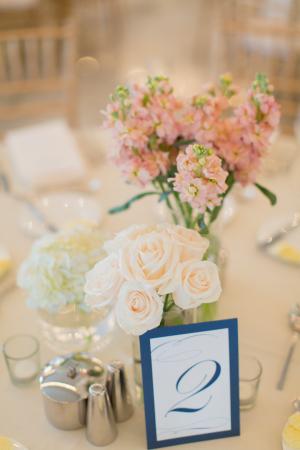 Clustered Floral Arrangements at Reception