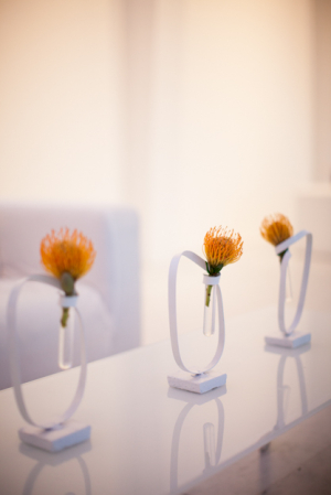 Contemporary Flower Arrangements at Wedding