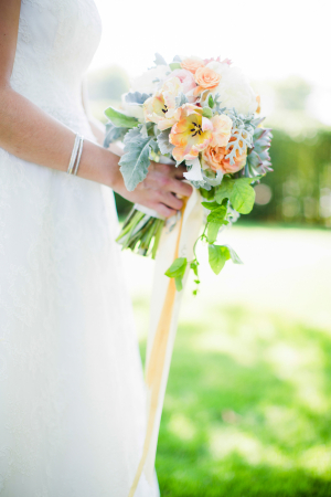 Coral Flower and Dusty Miller Bridal Bouquet