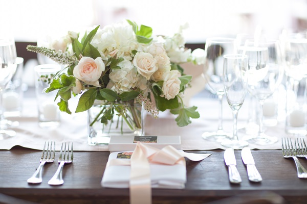 Cream, Blush, and Green Floral Centerpiece