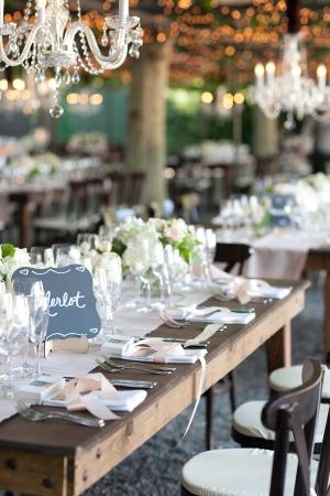 Crystal Chandeliers in Garden Reception Decor
