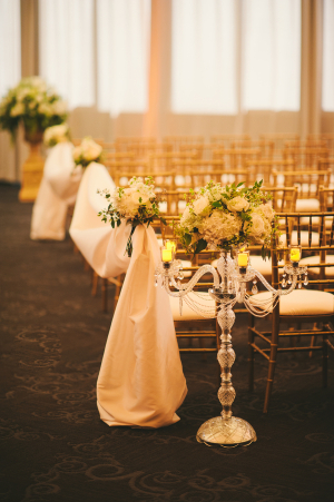 Crystal and Pearl Candleabra Aisle Decor