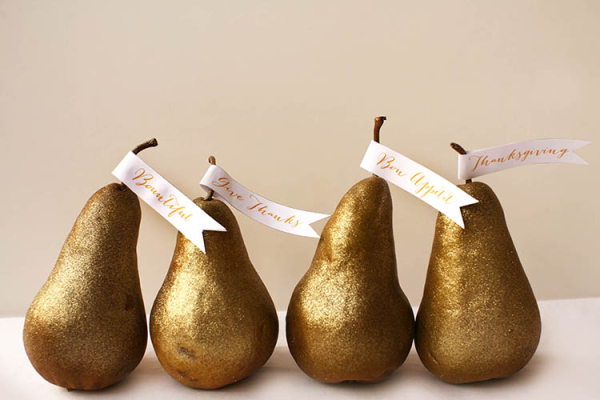 DIY Thanksgiving Pear Place Cards