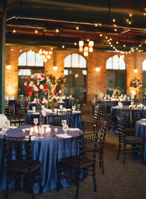 Deep Blue and Red Reception Decor
