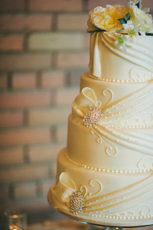 Detailed Wedding Cake With Brooches