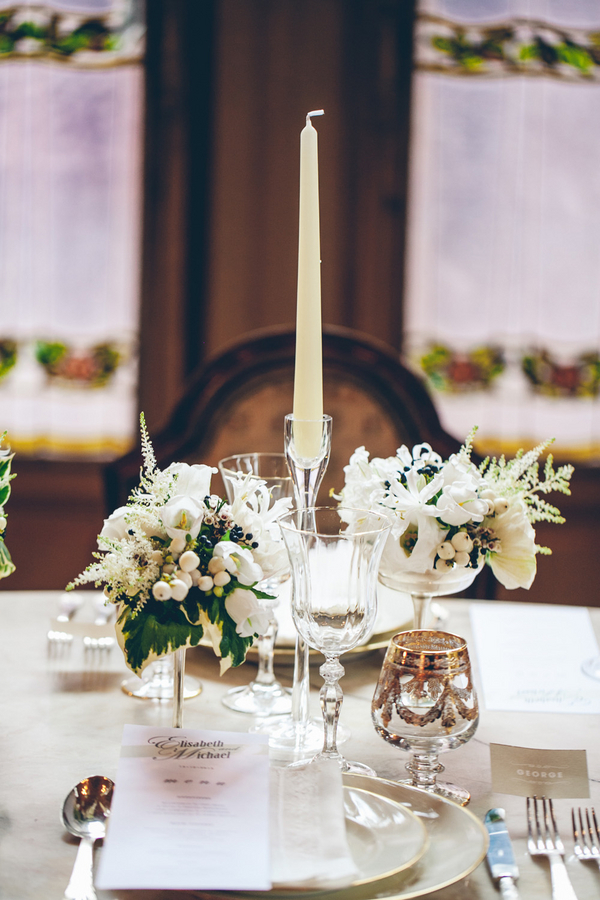 Elegant Cream, Gold and Green Reception Table
