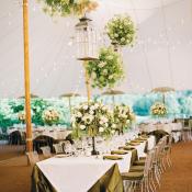Elegant Tent Reception Floral Chandeliers
