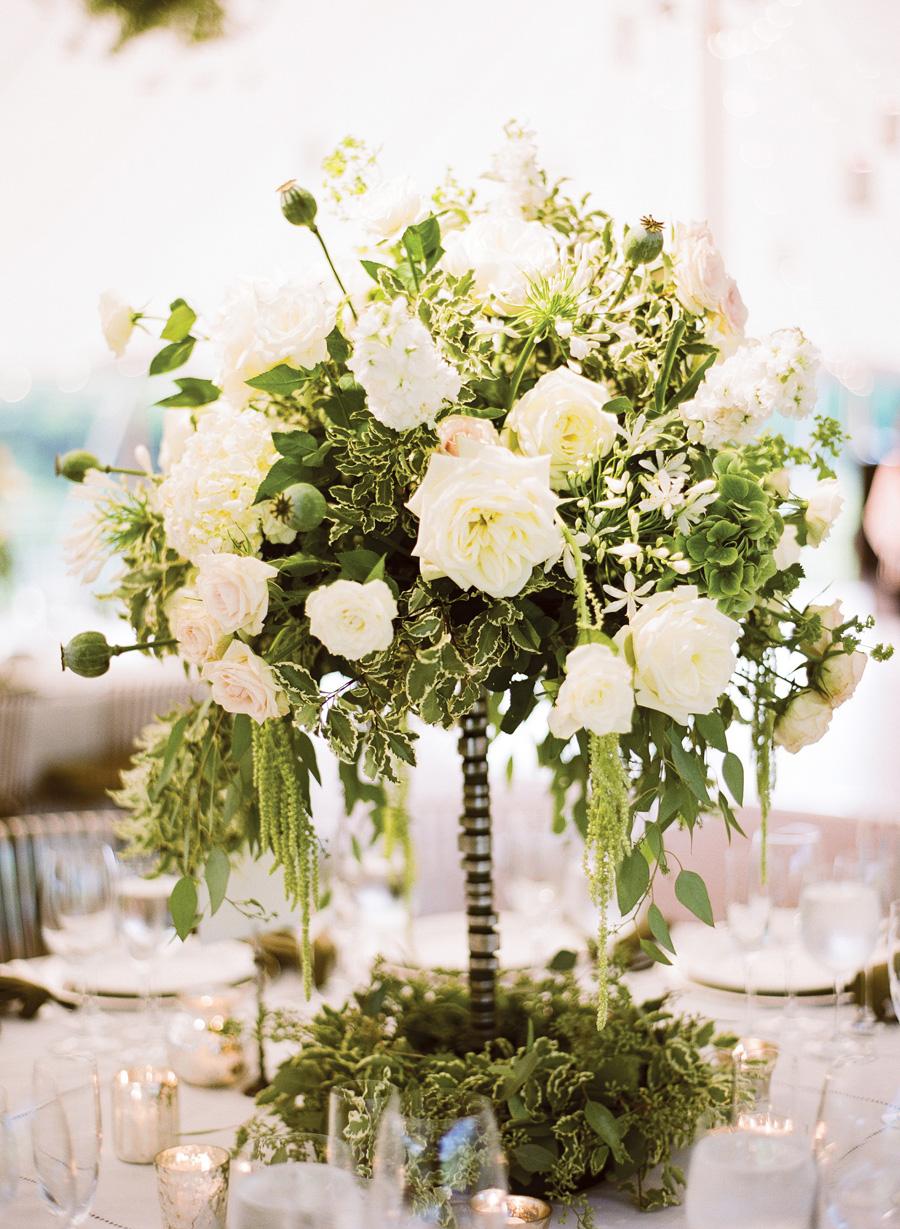 Elegant white and green centerpiece elizabeth anne