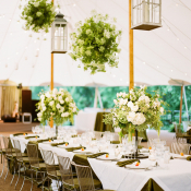 Floral Chandeliers in Tent Reception
