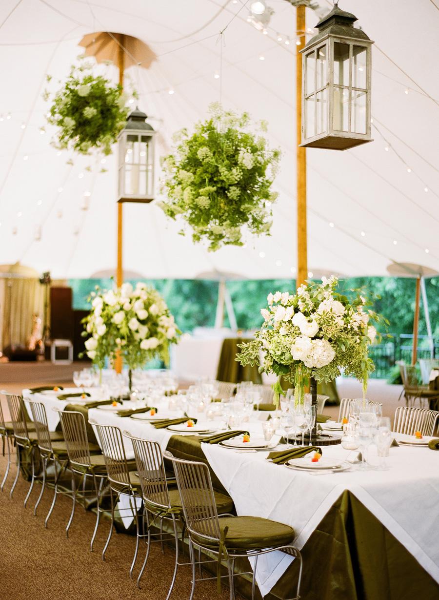 Floral Chandeliers In Tent Reception Elizabeth Anne